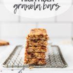 stack of fiber granola bars on cooling rack