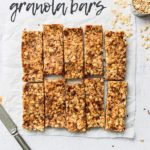 fiber granola bars cut in a row