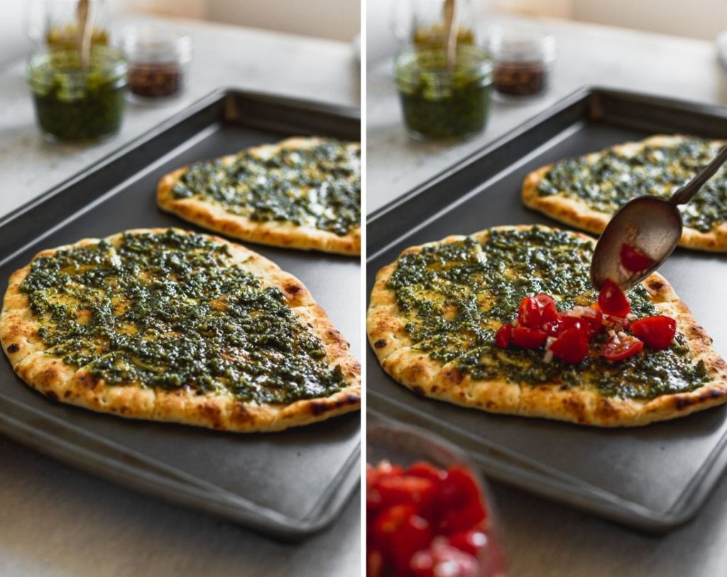 side by side images of pesto on naan flatbread then spreading tomatoes on top