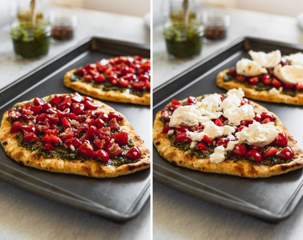 side by side photos of naan pizza with tomato on top then with burrata on top
