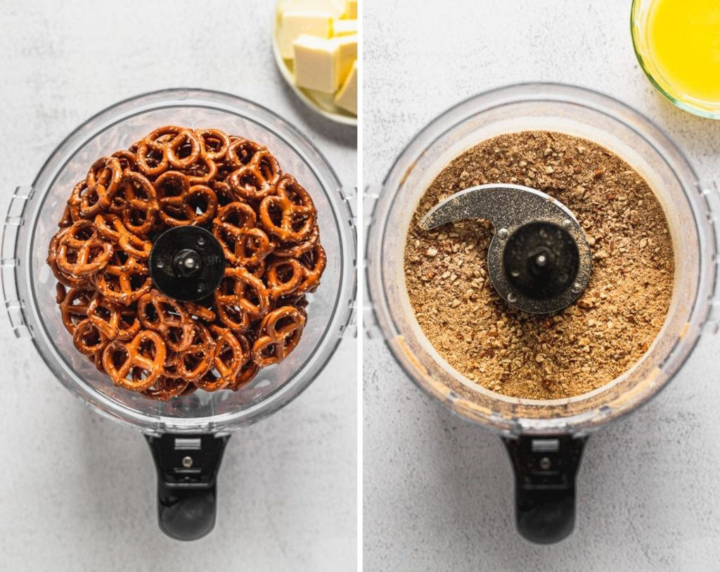 side by side photos of pretzels in food processor before and after blending