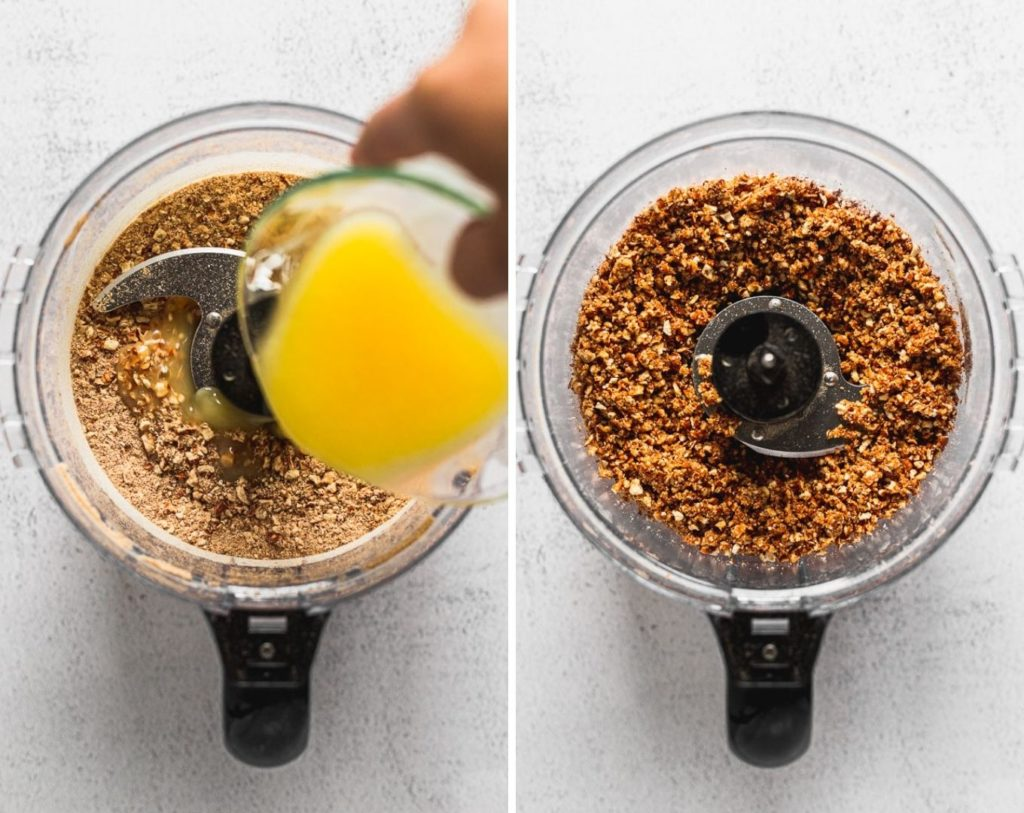side by side photos of pretzel crumbs in food processor pouring melted butter and combining