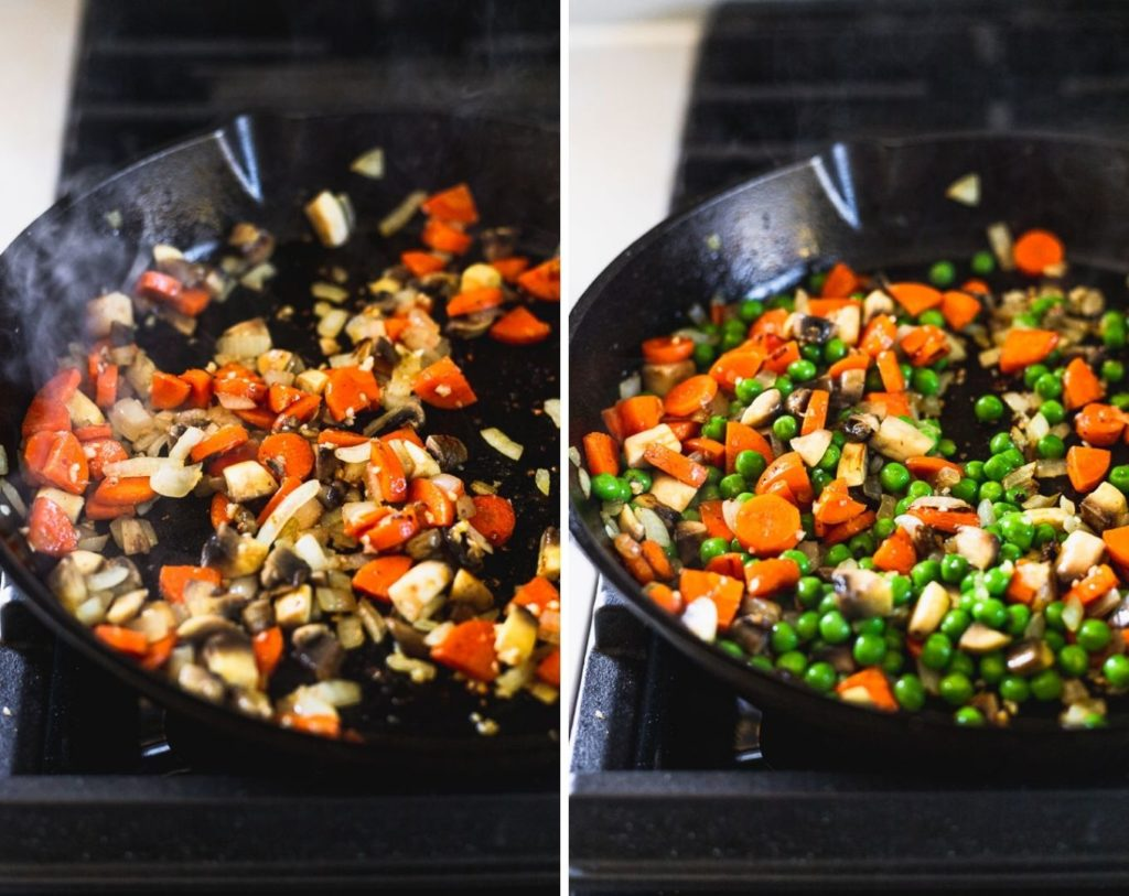 cast iron skillet with steps for adding mushrooms peas
