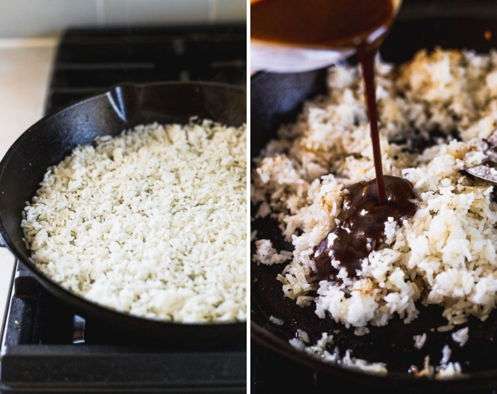 rice cooking in cast iron skillet next to photo pouring sauce into rice