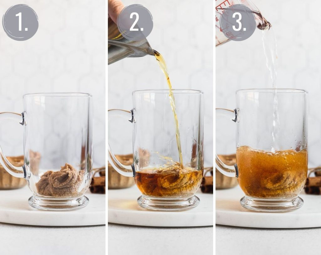 three photos showing the progression of making a hot buttered rum: the batter, rum, and hot water