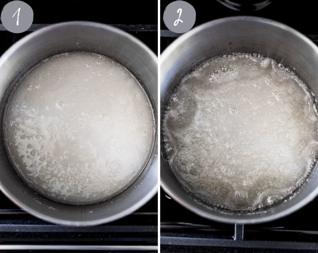 side by side images of sugar and water to make caramel