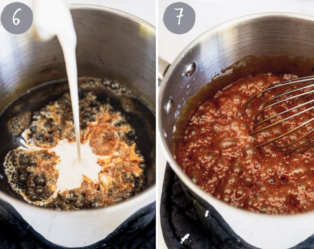 side by side photos pouring heavy cream into caramel