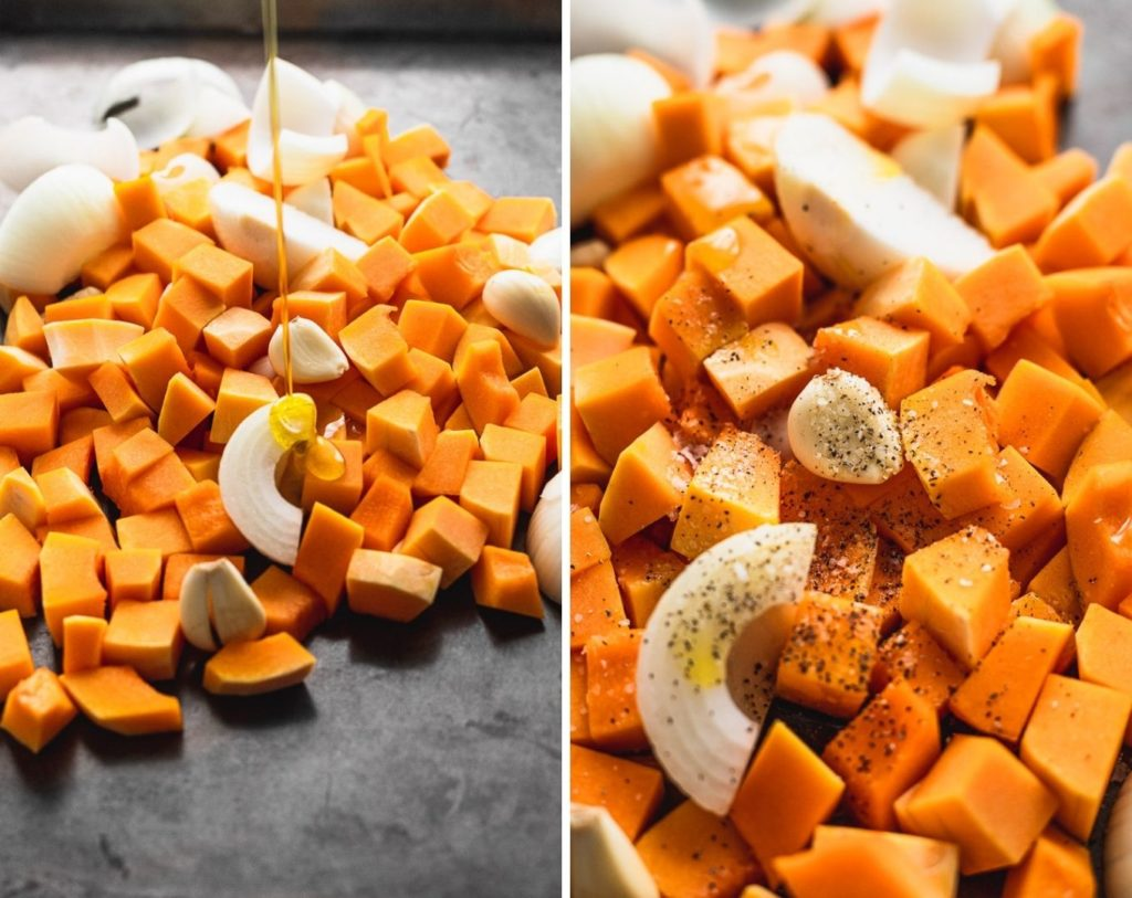 side by side photos of butternut squash on sheet pan to roast