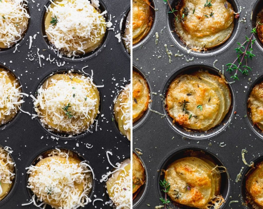 side by side photos of stacked potatoes in muffin tin before and after baking