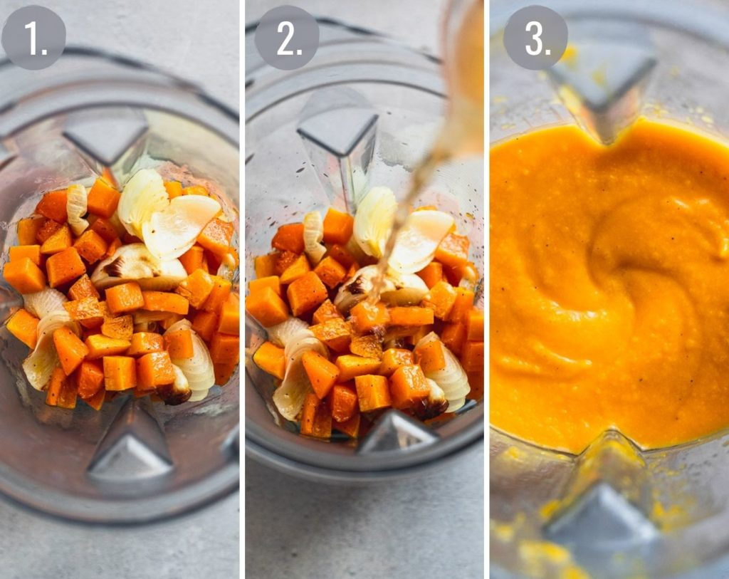 triple collage of butternut squash in blender to make sauce