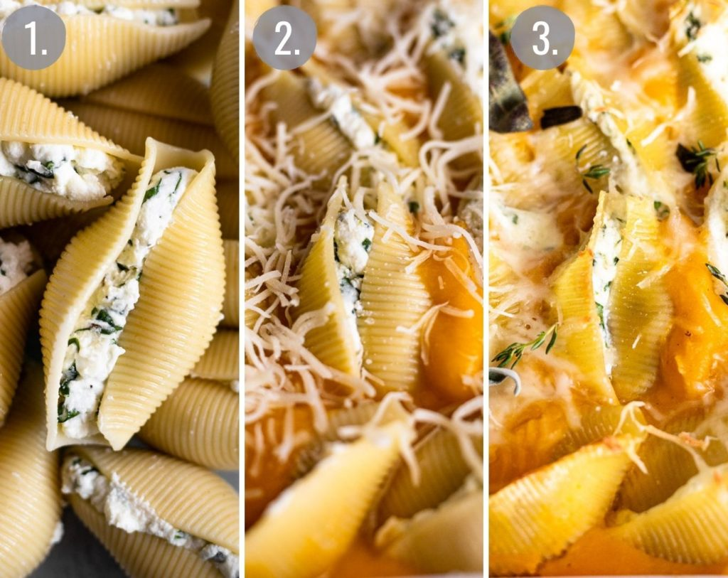 triple collage progression of cooking stuffed shells
