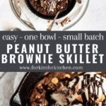 peanut butter brownie skillet pinterest image