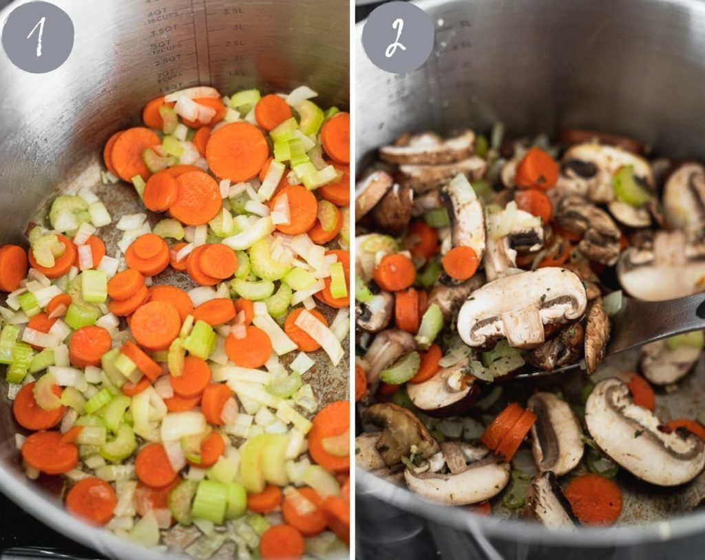 onions, celery and carrots cooking in pot then adding mushrooms