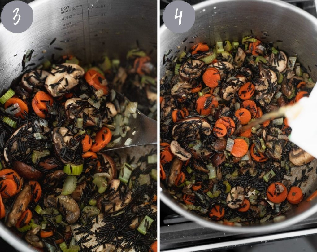 adding wild rice and vegetable stock to pot