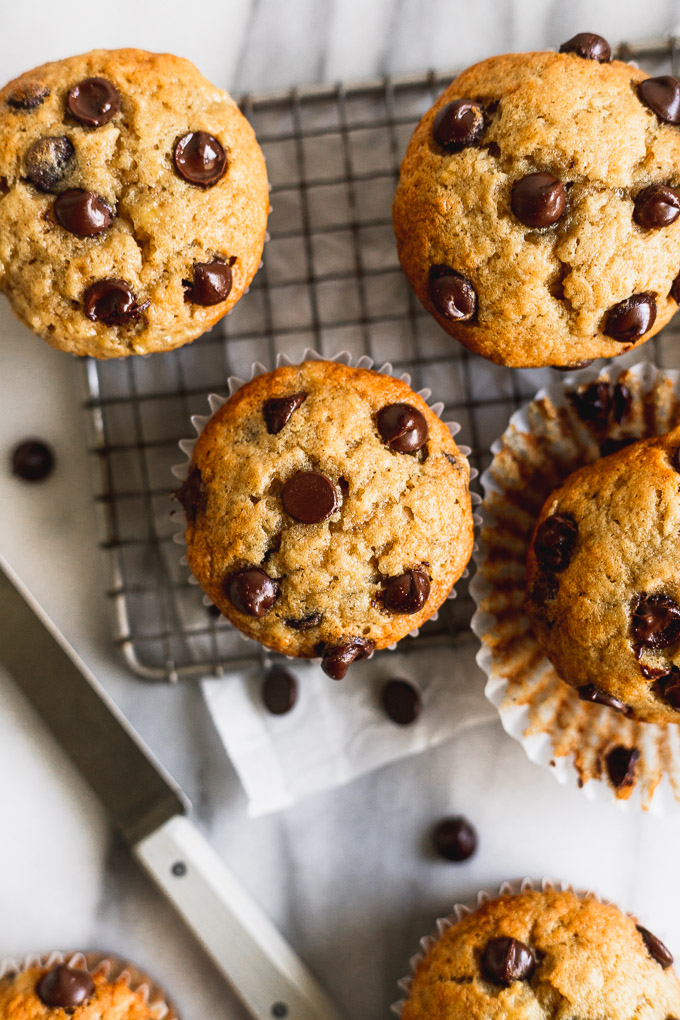 banana chocolate chip muffins overhead on cooling rack