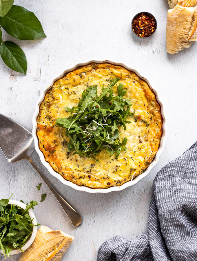 egg bake with arugula on top