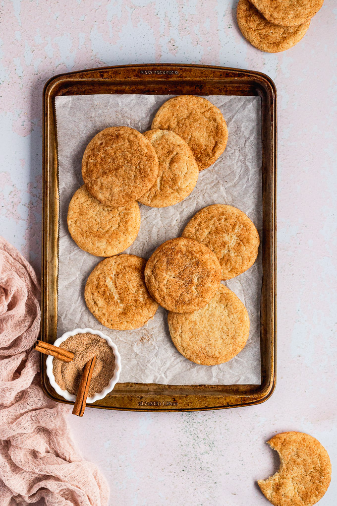 cinnamon spice cookies on baking tray