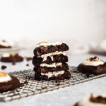 stack of chocolate cookies with marshmallows