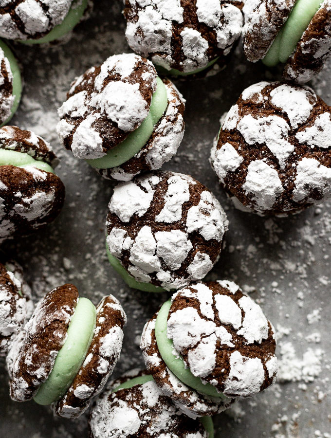 overhead chocolate mint cookies on baking sheet