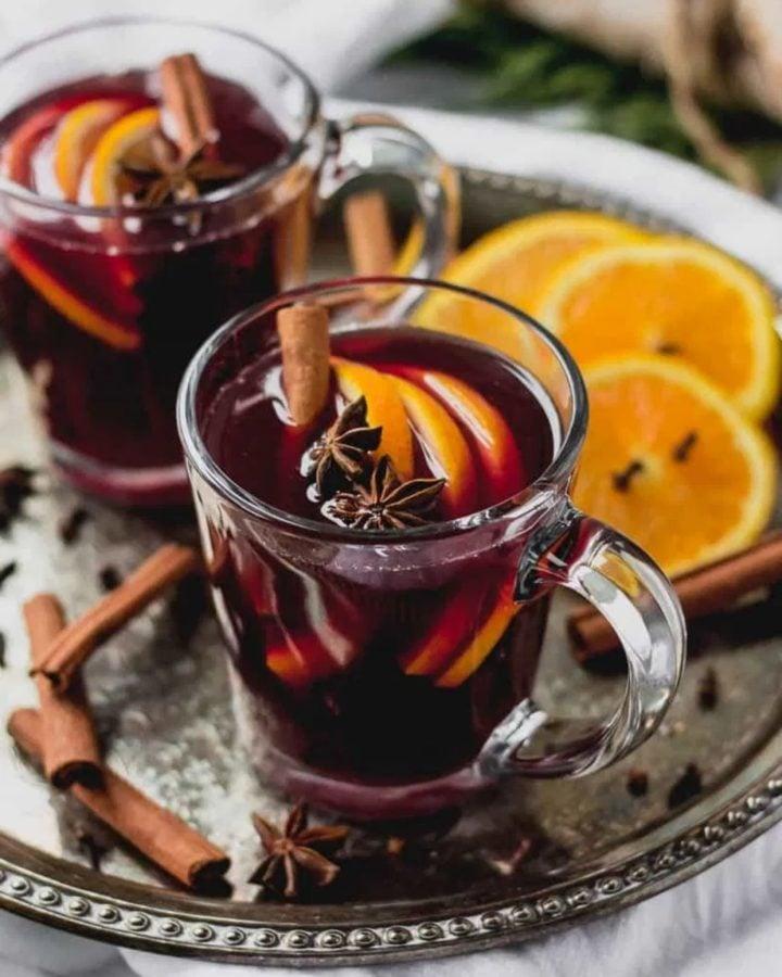 glass mug of mulled wine
