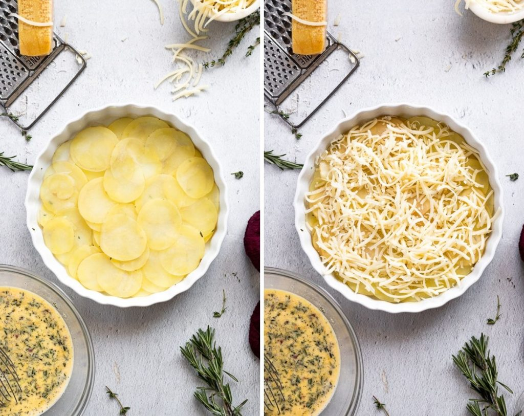 side by side photos of potatoes in pan then with cheese on top