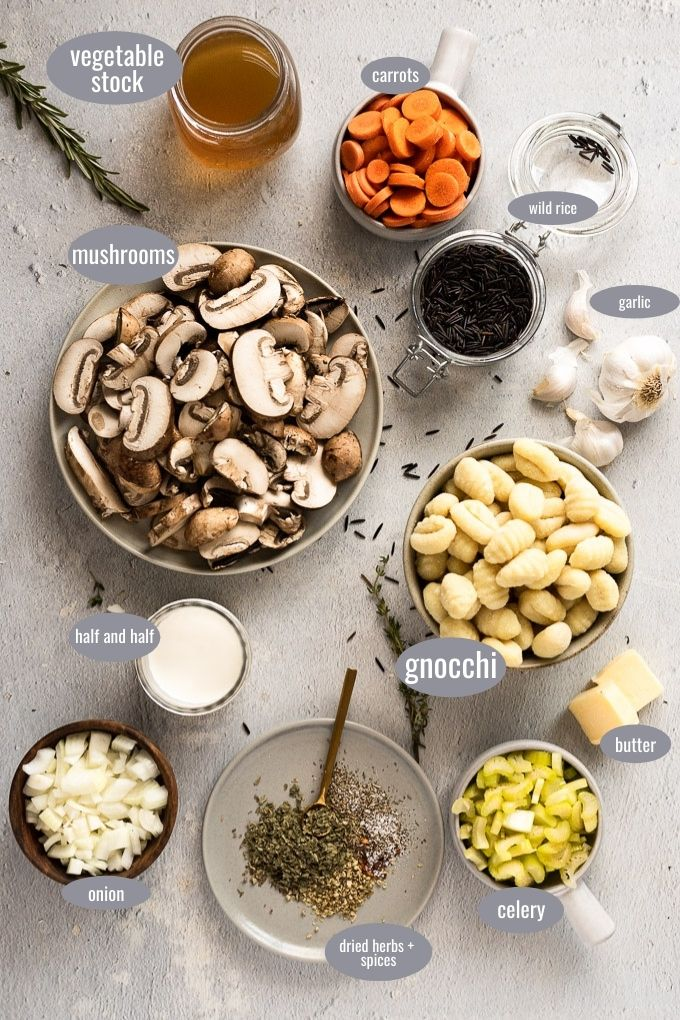 ingredients in bowls for mushroom gnocchi