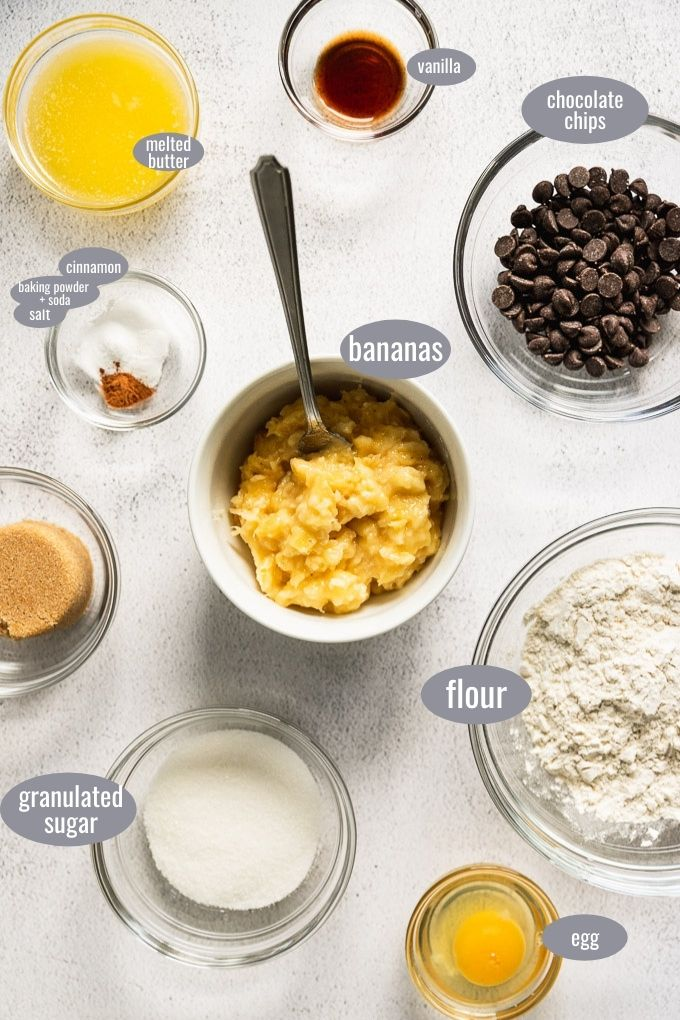 ingredients for small batch banana chocolate chip muffins