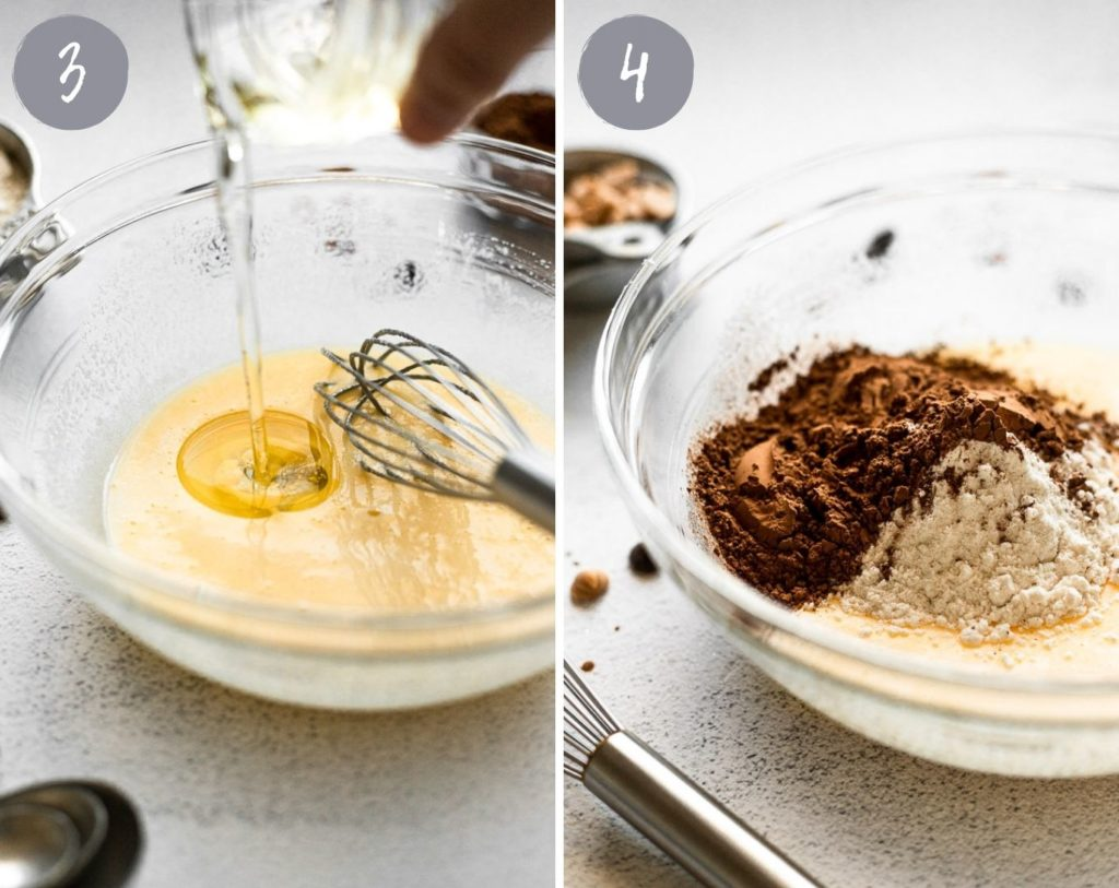 pouring oil into mixing bowl and adding dry ingredients