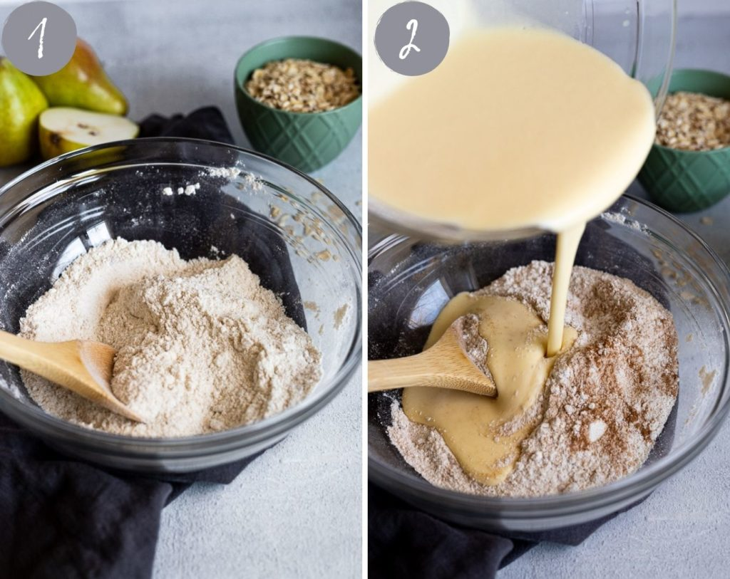 side by side photos of dry ingredients and pouring wet ingredients into dry