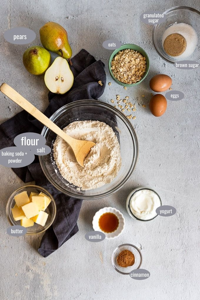 pear muffin ingredients with text