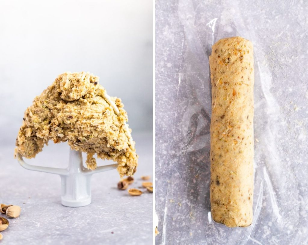 side by side photos of dough on mixer paddle and rolled into a log