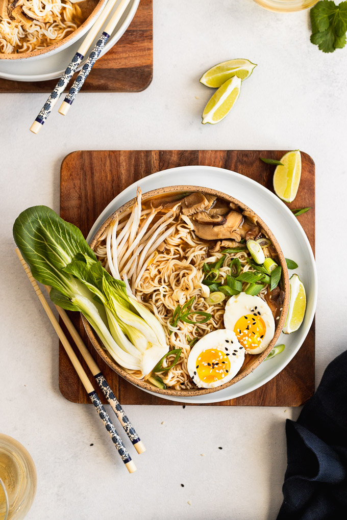 vegetarian ramens with soft boiled egg, bok choy, and bean sprouts