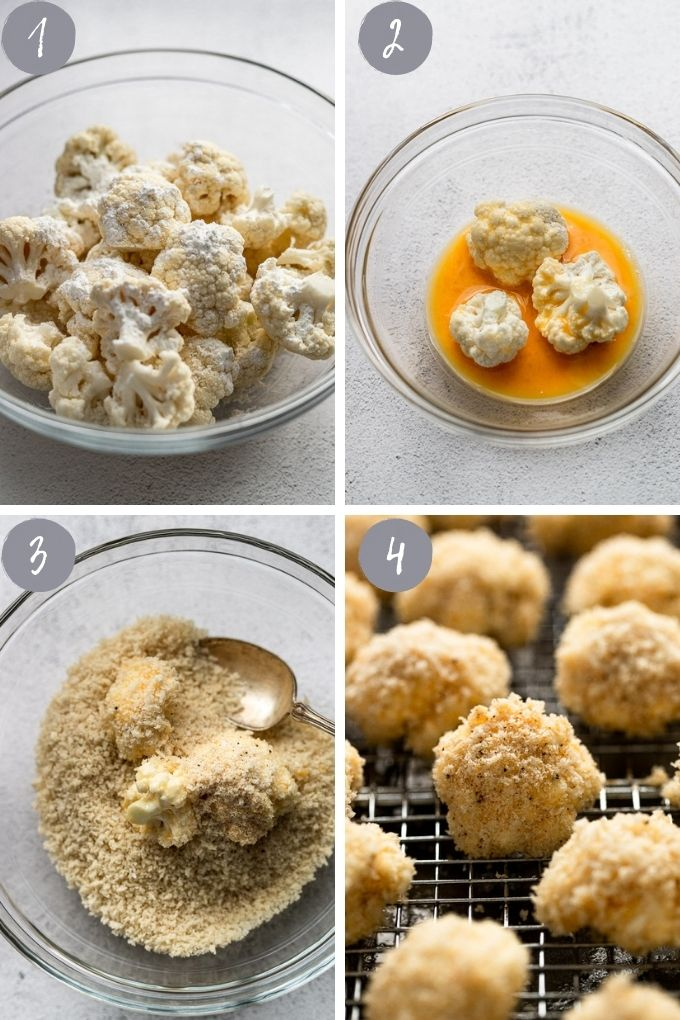 4 images with steps to making cauliflower bites
