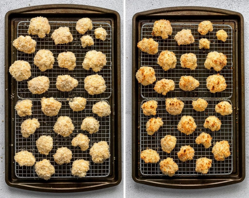 side by side before and after cauliflower on baking sheet