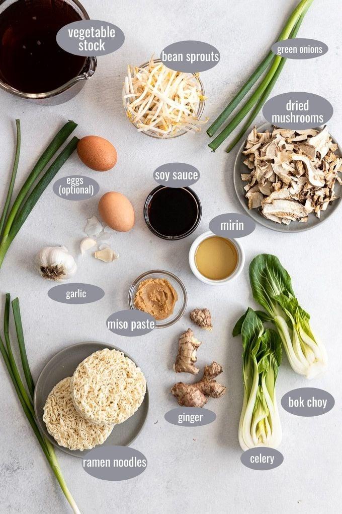 ingredients for savory vegetarian ramen
