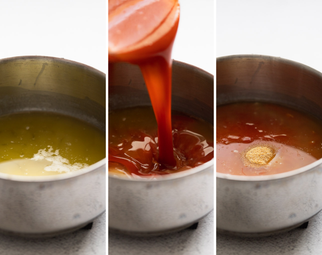 three photos adding ingredients to saucepan