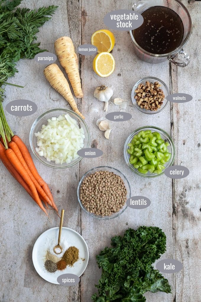 ingredients for soup with labels