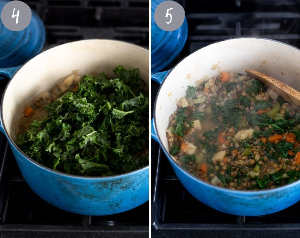 side by side photos of stock pot with last two steps