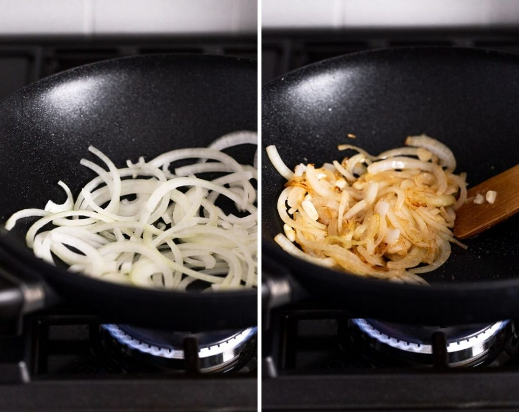 two images: onions cooking before and after