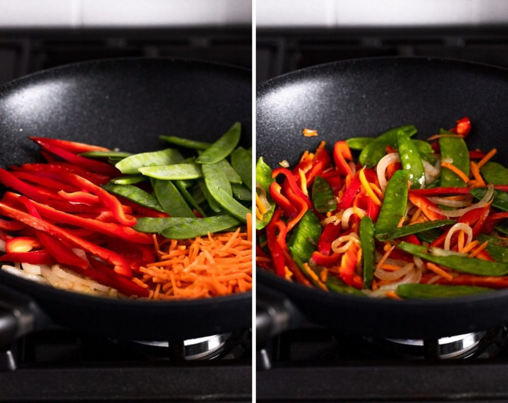 two images: red bell pepper, snow peas, and carrots added then cooked