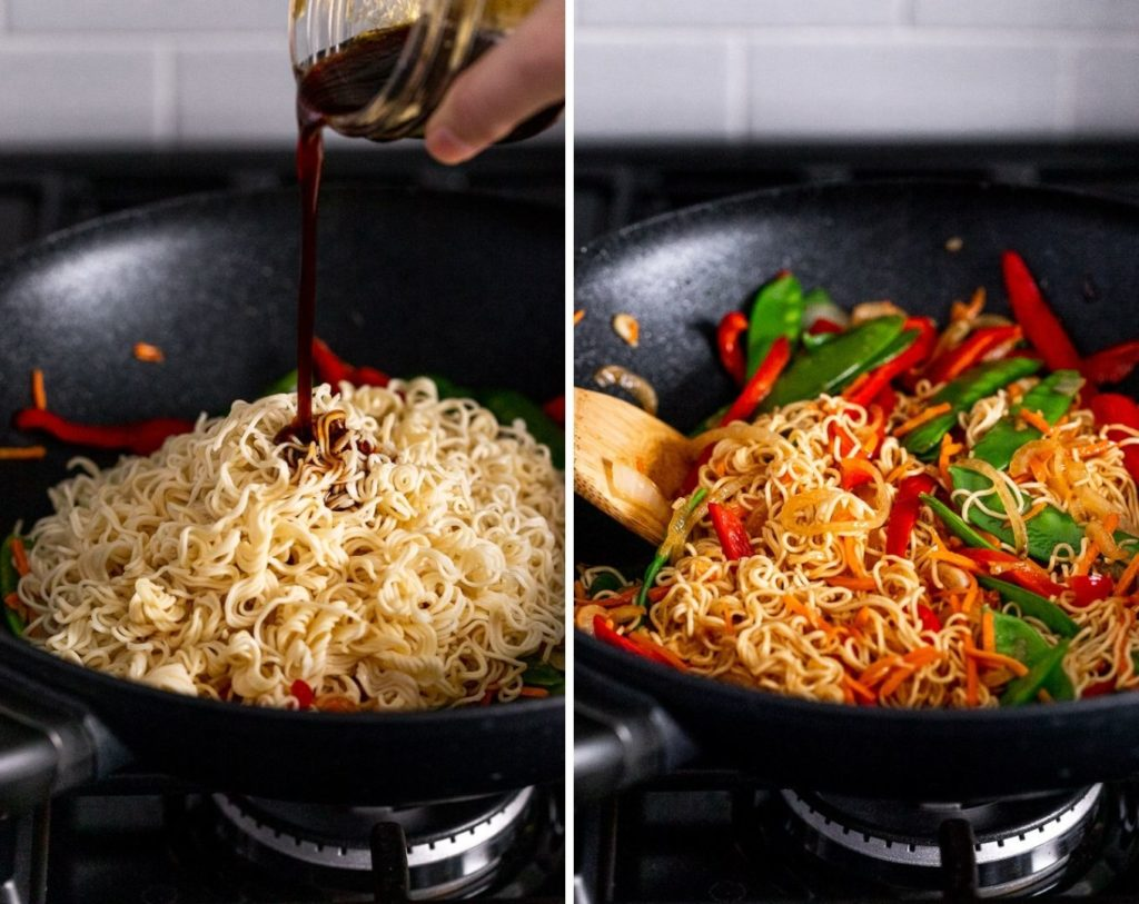 two photos: pouring sauce into noodles and stirring lo mein