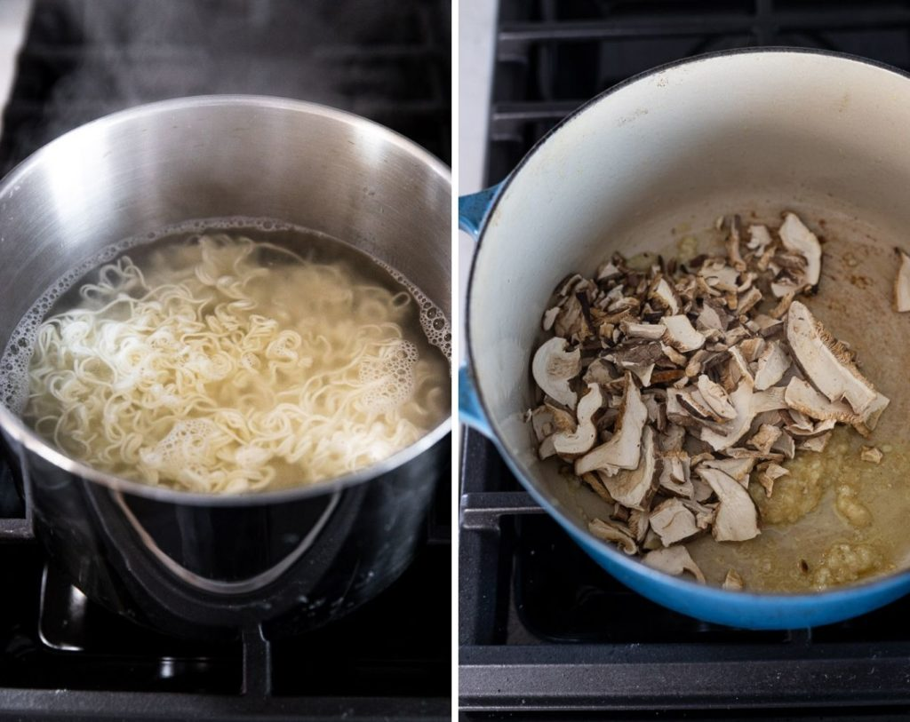 ramen noodles boiling in water next to mushrooms garlic and ginger in dutch oven
