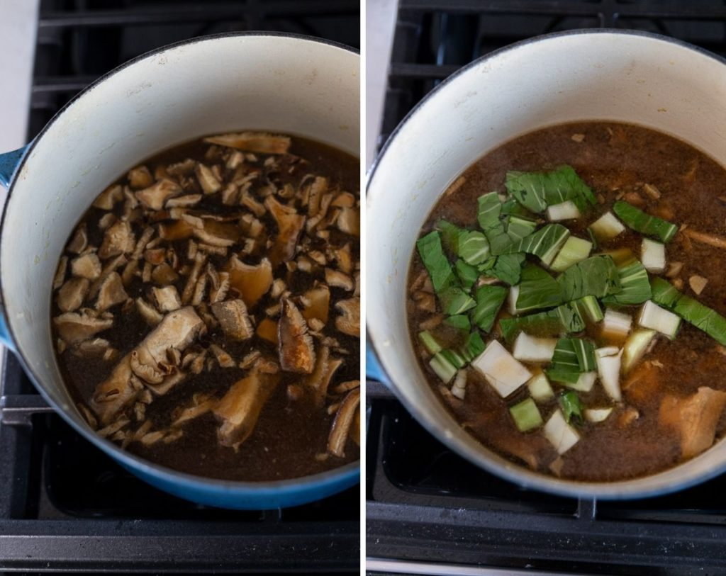 mushrooms boiling next to image of bok choy boiling