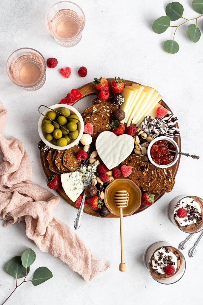 valentine's day board with chocolate mousse