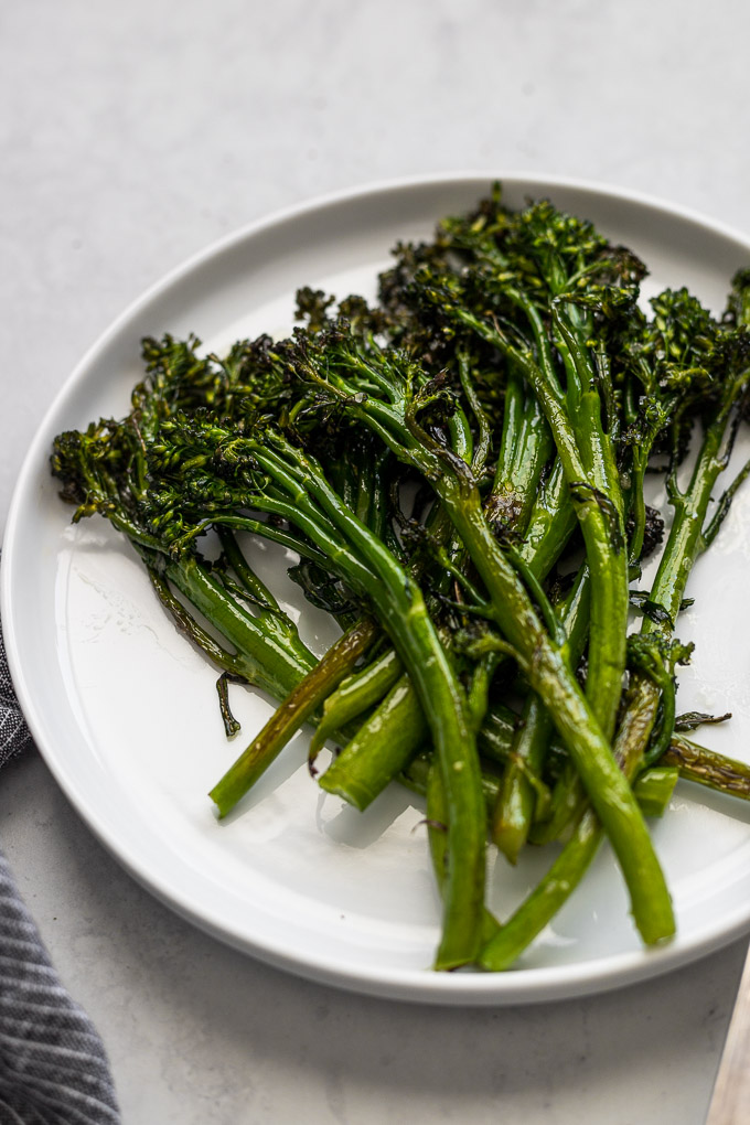 roasted broccolini on plate