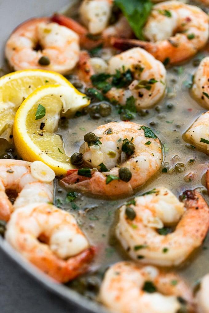 up close shrimp in picatta sauce