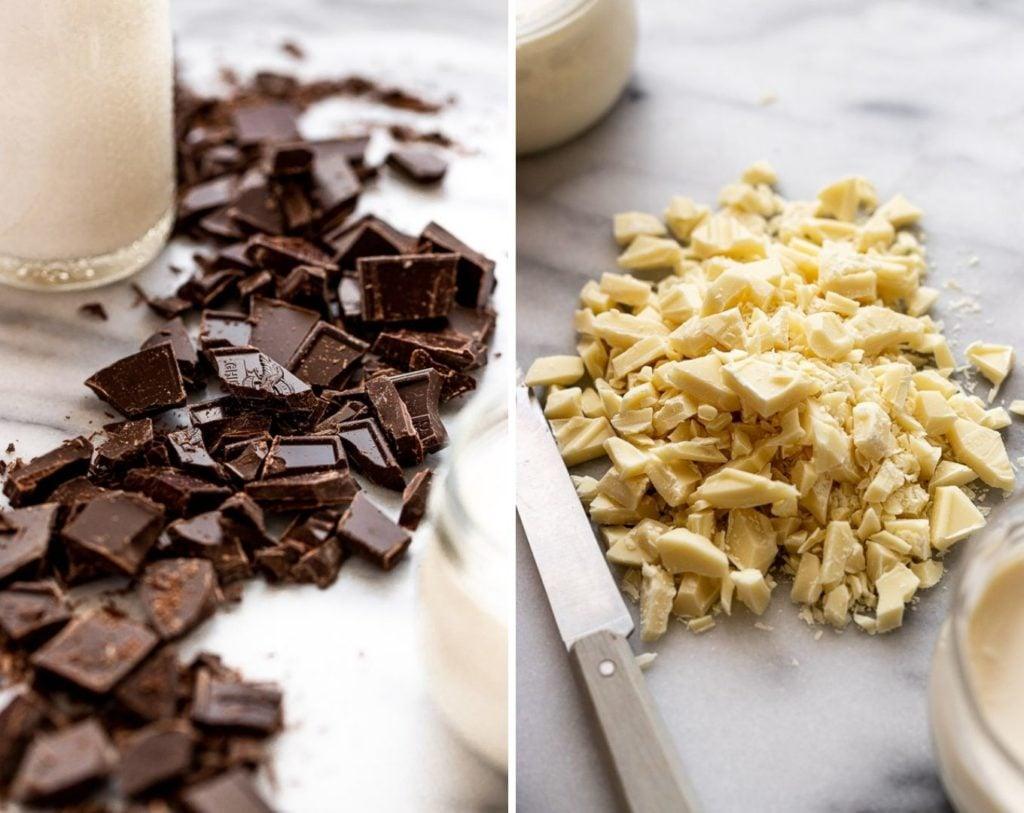 chopped dark and white chocolate
