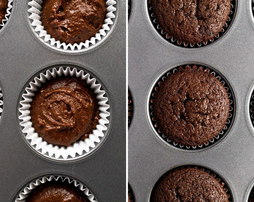 cupcakes before and after baking in muffin pan