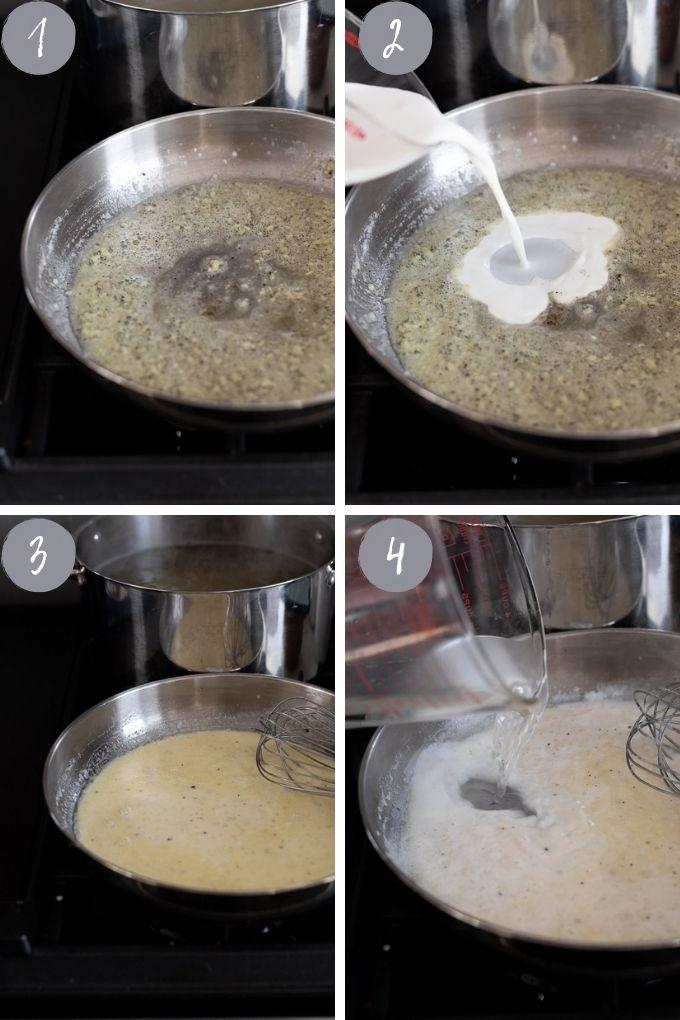 sauce steps 1 to 4
