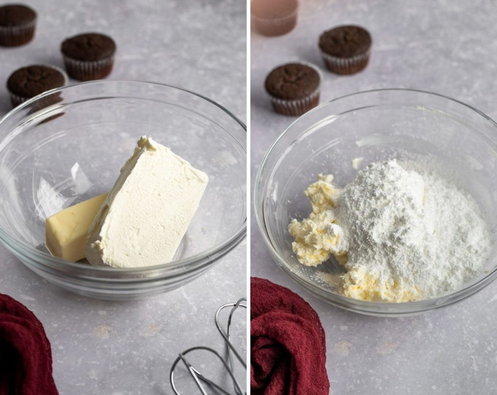 making frosting collage in mixing bowl